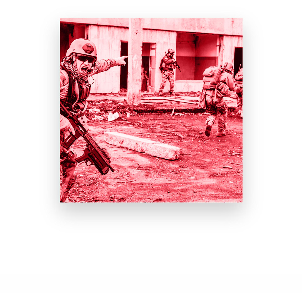 Red overlay photo of soldiers